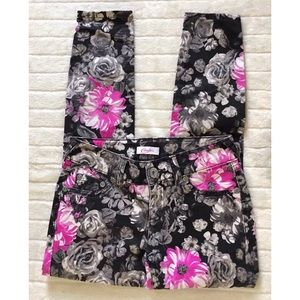 CANDIE'S Floral Jeggings Black Gray Pink White